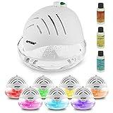 AMOS Lufterfrischer Reiniger Ionisator mit farbwechselndem LED-Licht & 3 x 30 ml Düfte Essence Aroma (weiß)